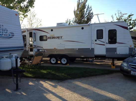 RV Rental at Wine Country RV Resort - This is a full view of your accommodations in a deluxe site (#89)