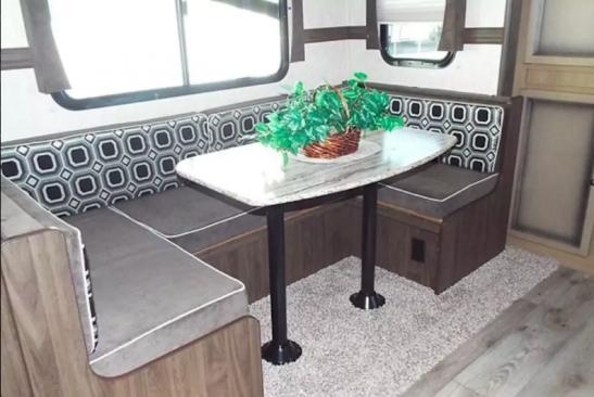Dinette in the Luxury RV Trailer at Vineyard Ranch Resort.