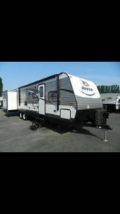 Portrait photo of travel trailer