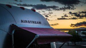 Airstream trailer at sunset