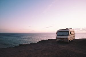 RV set up for beach camping