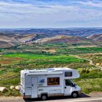 RV with scenic background