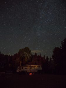 White RV Boondocking at Night