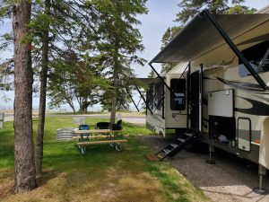 RV rental delivered to campsite for family RV camping trip