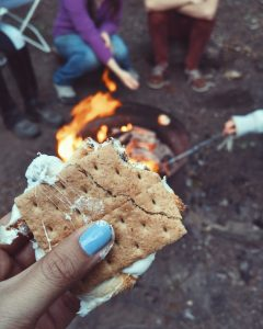 hand holding a s'more in front of a campfire