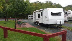 RV rental set up at RV campsite
