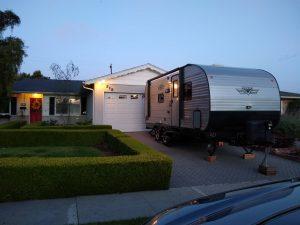 Camper trailer in driveway