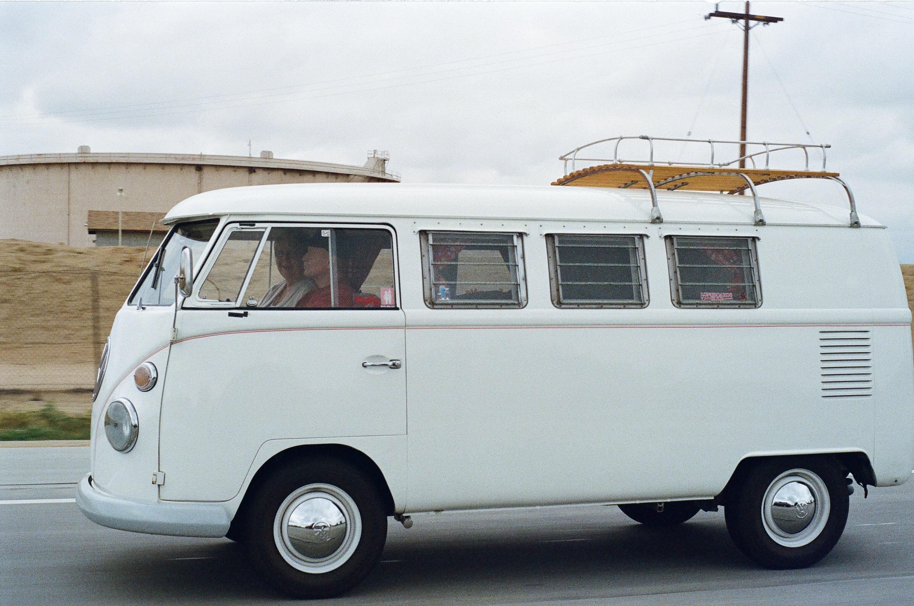 Volkswagen RV driving along Highway 1 in California