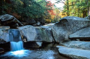 Waterfall in a forest in Maine