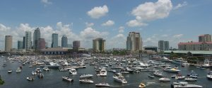 boats and skyline in Tampa, Florida
