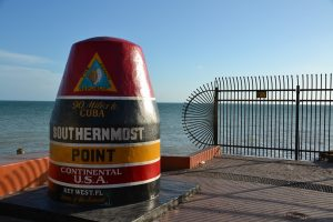 Buoy marking the southernmost point in the continental USA in Key West