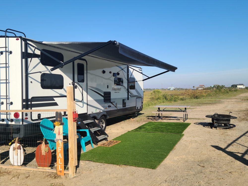 RV set up at campsite